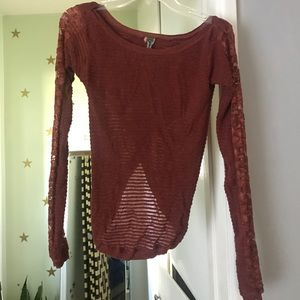 Free people lace long sleeve thermal sz M